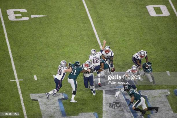 Super Bowl LII Aerial view of ball loose after New England Patriots QB Tom Brady is stripped for fumble by Philadelphia Eagles Brandon Graham at US...