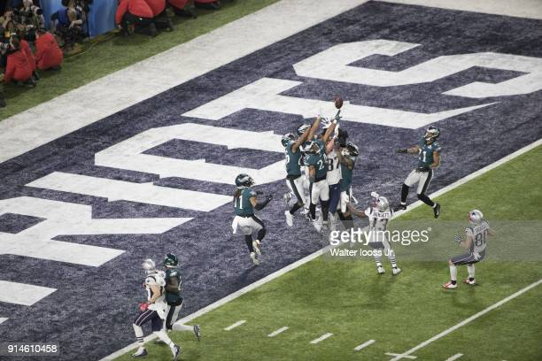 Super Bowl LII Aerial view of New England Patriots Rob Gronkowski in action incomplete pass vs Philadelphia Eagles at US Bank Stadium Final play of...