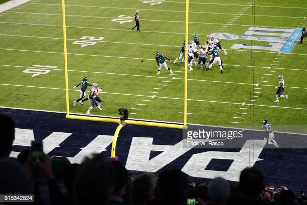 Super Bowl LII Aerial view of New England Patriots Rob Gronkowski in action making touchdown catch vs Philadelphia Eagles at US Bank Stadium...