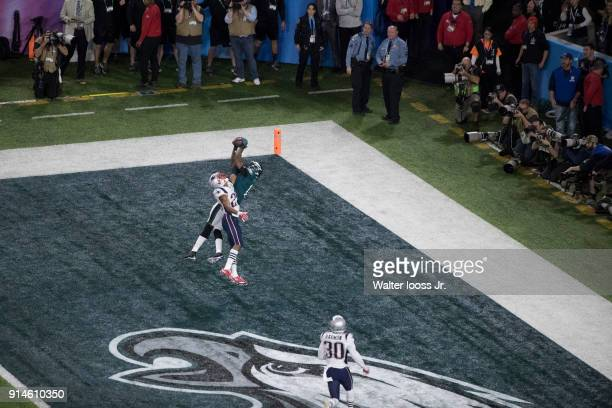 Super Bowl LII Aerial view of Philadelphia Eagles Alshon Jeffery in action making touchdown catch vs New England Patriots Eric Rowe at US Bank...