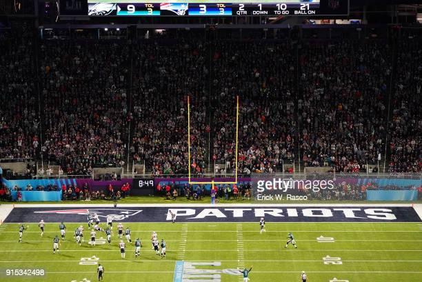 Super Bowl LII Aerial view of Philadelphia Eagles LeGarrette Blount in action scoring touchdown vs New England Patriots at US Bank Stadium...