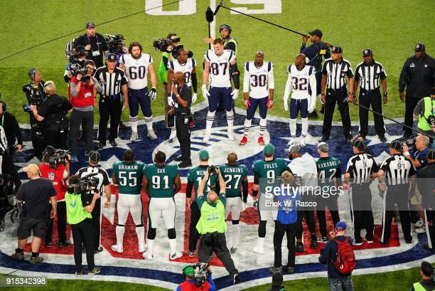 Super Bowl LII Aerial view of Philadelphia Eagles players and New England Patriots players during coin toss at 50 year line before game at US Bank...