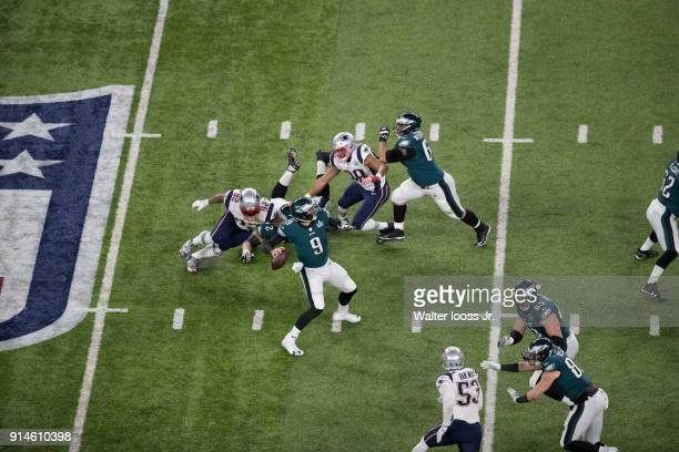 Super Bowl LII Aerial view of Philadelphia Eagles QB Nick Foles in action passing vs New England Patriots at US Bank Stadium Minneapolis MN CREDIT...