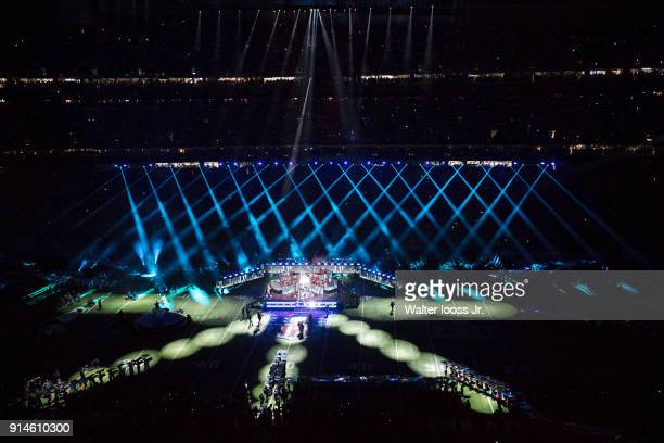 Super Bowl LII Aerial view of singer Justin Timberlake performing during halftime show during Philadelphia Eagles vs New England Patriots game at US...