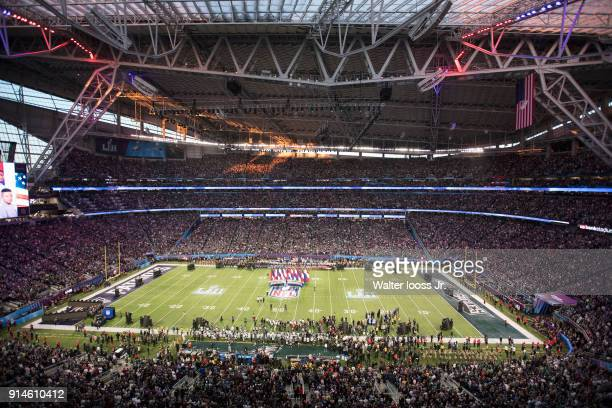 Super Bowl LII Aerial view of US Bank Stadium before national anthem before Philadelphia Eagles vs New England Patriots game Minneapolis MN CREDIT...