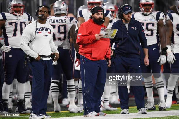 Super Bowl LII New England Patriots defensive coordinator Matt Patricia on sidelines during game vs Philadelphia Eagles at US Bank Stadium...