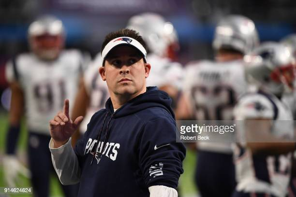 Super Bowl LII New England Patriots offensive coordinator Josh McDaniels before game vs Philadelphia Eagles at US Bank Stadium Minneapolis MN CREDIT...