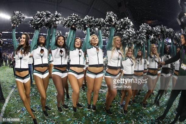 Super Bowl LII Philadelphia Eagles cheerleaders on field after game vs New England Patriots at US Bank Stadium Minneapolis MN CREDIT Simon Bruty
