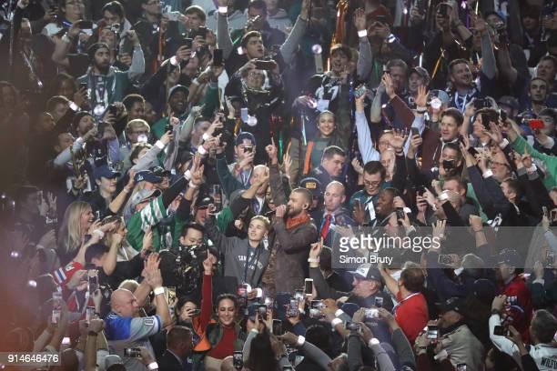 Super Bowl LII Singer Justin Timberlake performing during halftime show during Philadelphia Eagles vs New England Patriots game at US Bank Stadium...