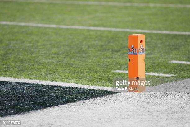 Super Bowl LII View of end zone pylon with Super Bowl LII logo during Philadelphia Eagles vs New England Patriots game at US Bank Stadium Equipment...