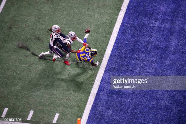 Super Bowl LIII Aerial view of Los Angeles Rams Brandin Cooks in action falling to ground while attempting to make catch vs New England Patriots at...