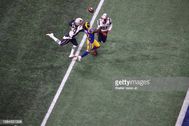 Super Bowl LIII Aerial view of Los Angeles Rams Brandin Cooks in action attempting to make catch vs New England Patriots at MercedesBenz Stadium...