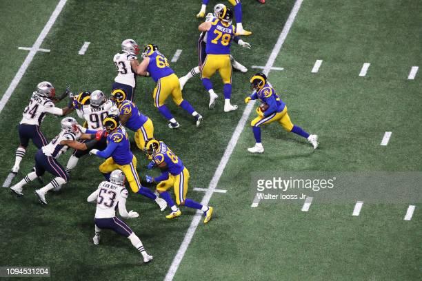 Super Bowl LIII Aerial view of Los Angeles Rams CJ Anderson in action rushing vs New England Patriots at MercedesBenz Stadium Atlanta GA CREDIT...