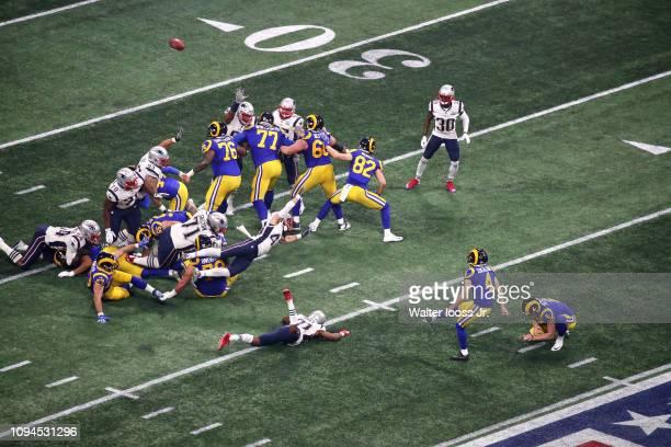 Super Bowl LIII Aerial view of Los Angeles Rams Greg Zuerlein in action kicking field goal vs New England Patriots at MercedesBenz Stadium Atlanta GA...