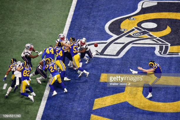 Super Bowl LIII Aerial view of Los Angeles Rams Johnny Hekker in action punt vs New England Patriots at MercedesBenz Stadium Atlanta GA CREDIT Walter...
