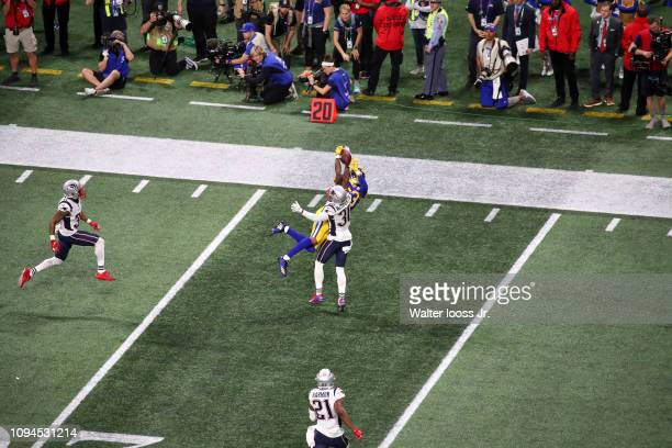 Super Bowl LIII Aerial view of Los Angeles Rams Josh Reynolds in action vs New England Patriots Jason McCourty at MercedesBenz Stadium Atlanta GA...