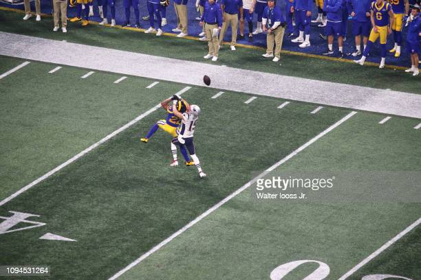 Super Bowl LIII Aerial view of Los Angeles Rams Marcus Peters in action on defense vs New England Patriots Chris Hogan at MercedesBenz Stadium...