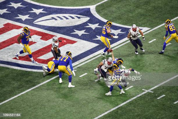 Super Bowl LIII Aerial view of Los Angeles Rams QB Jared Goff in action making pass under pressure vs New England Patriots at MercedesBenz Stadium...