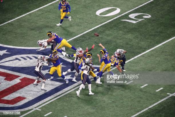 Super Bowl LIII Aerial view of Los Angeles Rams QB Jared Goff in action making pass vs New England Patriots at MercedesBenz Stadium Atlanta GA CREDIT...
