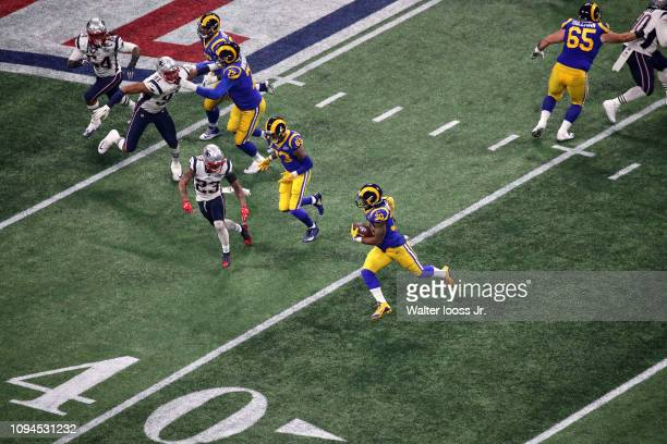 Super Bowl LIII Aerial view of Los Angeles Rams Todd Gurley II in action rushing vs New England Patriots at MercedesBenz Stadium Atlanta GA CREDIT...