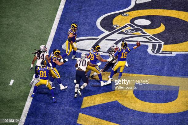 Super Bowl LIII Aerial view of New England Patriots Dont'a Hightower in action tackle vs Los Angeles Rams QB Jared Goff in endzone at MercedesBenz...