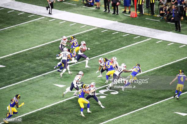 Super Bowl LIII Aerial view of New England Patriots Cordarrelle Patterson in action during kickoff return vs Los Angeles Rams at MercedesBenz Stadium...