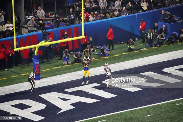 Super Bowl LIII Aerial view of New England Patriots Jason McCourty in action on defense vs Los Angeles Rams Brandin Cooks at MercedesBenz Stadium...