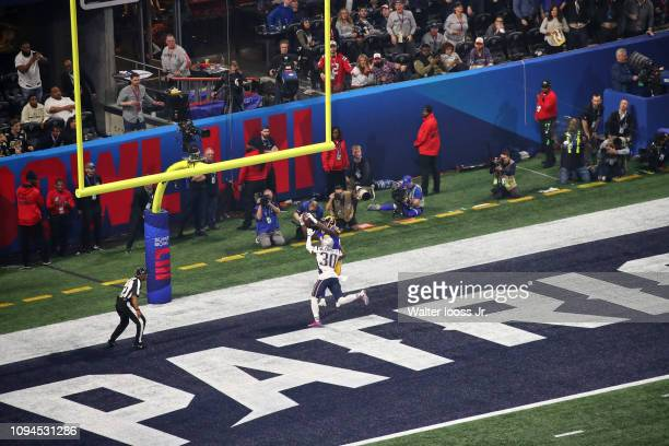 Super Bowl LIII Aerial view of New England Patriots Jason McCourty in action breaking up pass on defense vs Los Angeles Rams Brandin Cooks at...