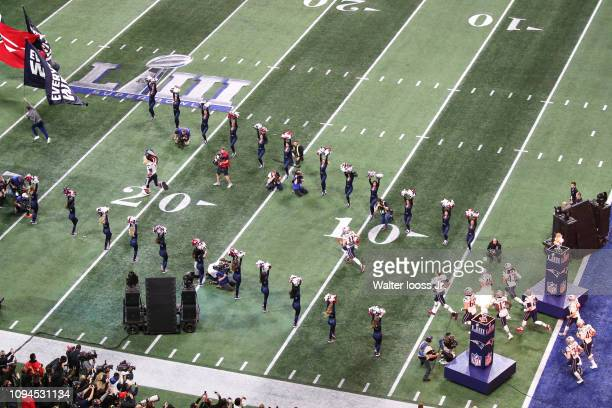 Super Bowl LIII Aerial view of New England Patriots players exiting tunnel onto field before game vs Los Angeles Rams at MercedesBenz Stadium Atlanta...
