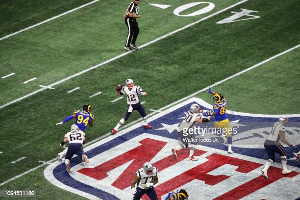 Super Bowl LIII Aerial view of New England Patriots QB Tom Brady in action making pass vs Los Angeles Rams at MercedesBenz Stadium Atlanta GA CREDIT...