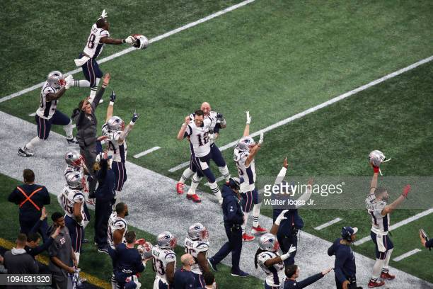 Super Bowl LIII Aerial view of New England Patriots QB Tom Brady and teammates victorious on sidelines after Stephen Gostkowski field goal during...