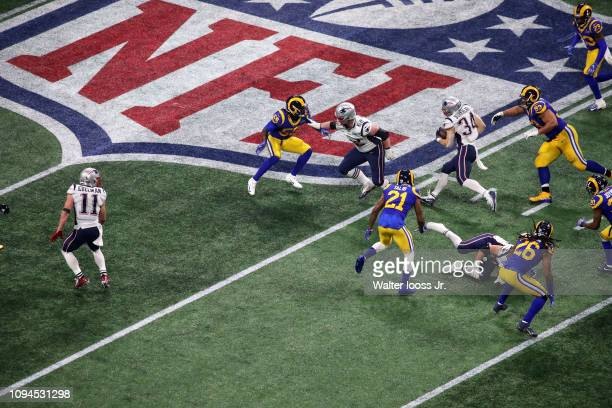 Super Bowl LIII Aerial view of New England Patriots Rex Burkhead in action rushing vs Los Angeles Rams at MercedesBenz Stadium Atlanta GA CREDIT...