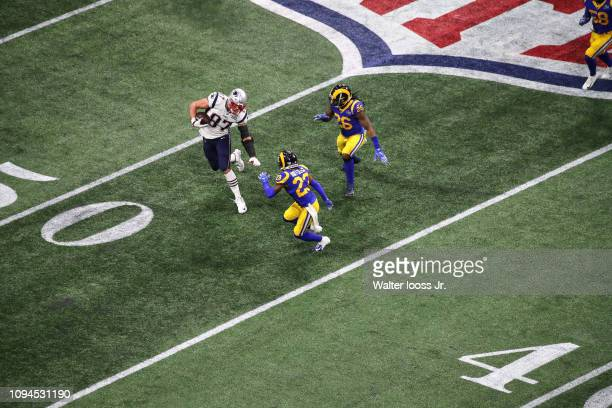 Super Bowl LIII Aerial view of New England Patriots Rob Gronkowski in action vs Los Angeles Rams Nickell RobeyColeman and Mark Barron at MercedesBenz...
