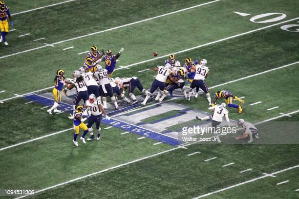 Super Bowl LIII Aerial view of New England Patriots Stephen Gostkowski in action kicking field goal vs Los Angeles Rams at MercedesBenz Stadium...