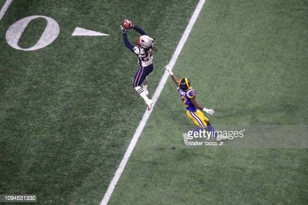 Super Bowl LIII Aerial view of New England Patriots Stephon Gilmore in action making interception vs Los Angeles Rams Brandin Cooks at MercedesBenz...