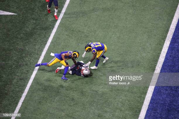 Super Bowl LIII Aerial view of New England Patriots Stephon Gilmore on ground after making interception vs Los Angeles Rams Brandin Cooks at...