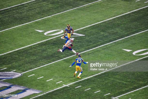 Super Bowl LIII New England Patriots Julian Edelman in action vs Los Angeles Rams at MercedesBenz Stadium Atlanta GA CREDIT Walter Iooss Jr