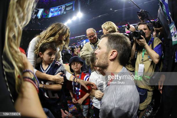 Super Bowl LIII New England Patriots QB Tom Brady with daughter Vivian wife Gisele and son John after winning game vs Los Angeles Rams at...