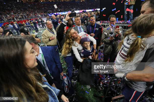Super Bowl LIII New England Patriots QB Tom Brady's wife Gisele Bundchen with son Benjamin after winning game vs Los Angeles Rams game at...