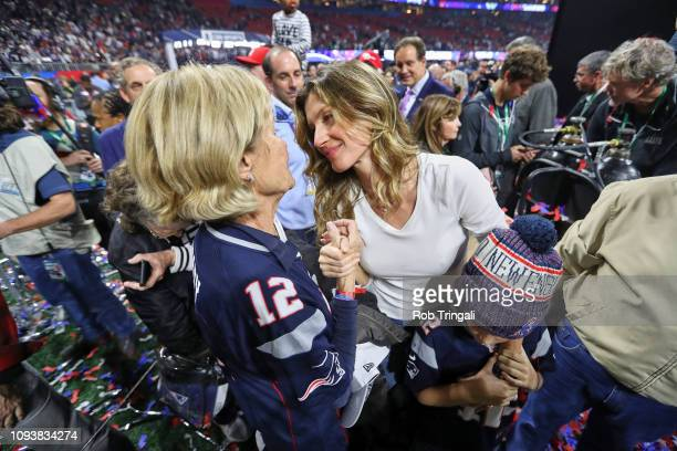 Super Bowl LIII New England Patriots QB Tom Brady's wife Gisele Bundchen with Brady's mother Galynn after winning game vs Los Angeles Rams game at...