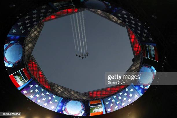 Super Bowl LIII View of flyby over MercedesBenz Stadium before New England Patriots vs Los Angeles Rams game Atlanta GA CREDIT Simon Bruty