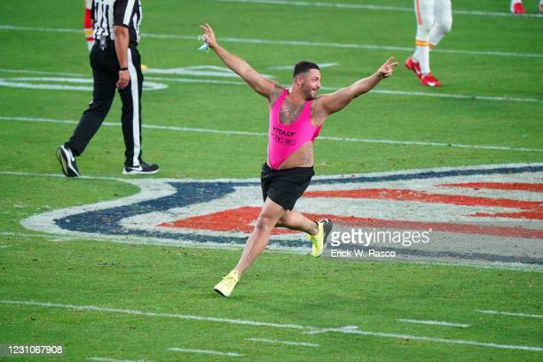 Super Bowl LV: View of streaker running on field during Kansas City Chiefs vs Tampa Bay Buccaneers game at Raymond James Stadium. Tampa, FL 2/7/2021...