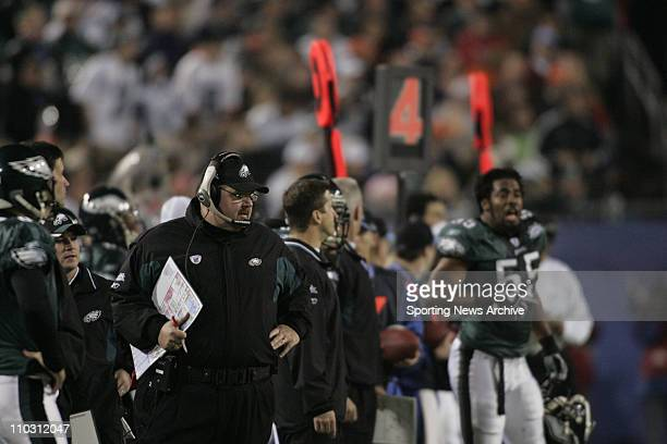 NFL Football Super Bowl Philadelphia Eagles head coach Andy Reid against New England Patriots during the Super Bowl 39 in Jacksonville Fla on Feb6...