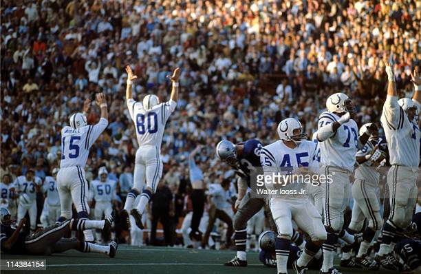 Super Bowl V Baltimore Colts Jim O'Brien victorious after making game winning 32yard field goal kick from snap by QB Earl Morrall vs Dallas Cowboys...