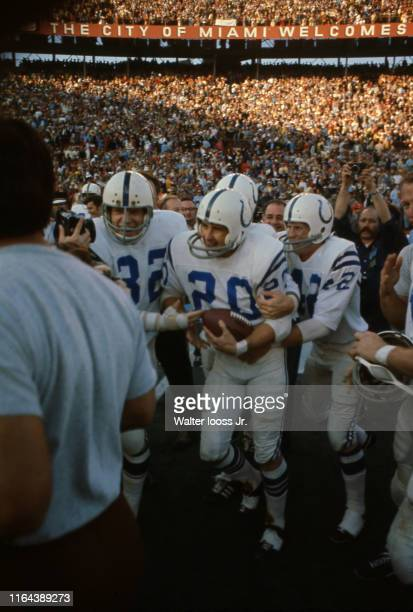 Super Bowl V Baltimore Colts Mike Curtis Jerry Logan and Tommy Maxwell victorious after winning game vs Dallas Cowboys at Orange Bowl Stadium Miami...