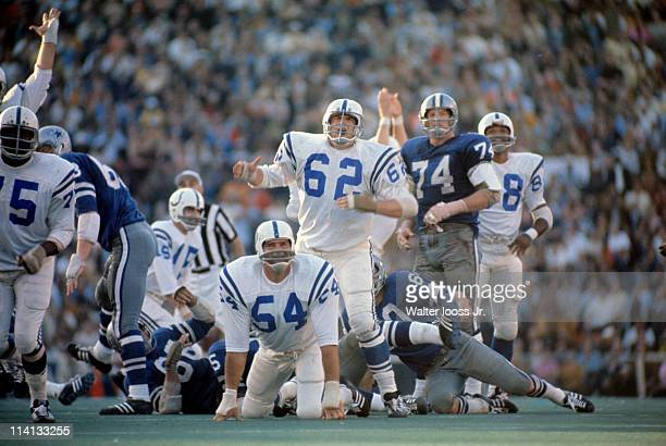 Super Bowl V Baltimore Colts Tom Goode and Glenn Ressler watch as 32yard game winning field kick by teammate Jim O'Brien goes in vs Dallas Cowboys at...