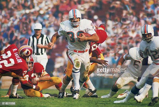 Football Super Bowl VII Miami Dolphins Larry Csonka in action vs Washington Redskins Los Angeles CA 1/14/1973