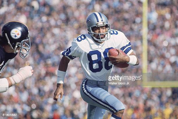 Football Super Bowl X Dallas Cowboys Drew Pearson in action vs Pittsburgh Steelers Miami FL 1/18/1976