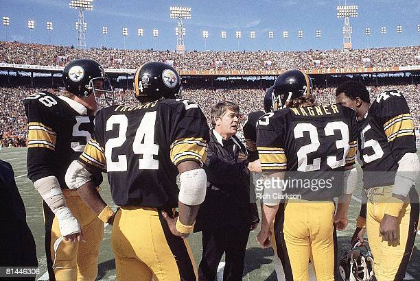 Football Super Bowl X Pittsburgh Steelers defensive coordinator Bud Carson with team during game vs Dallas Cowboys Miami FL 1/18/1976
