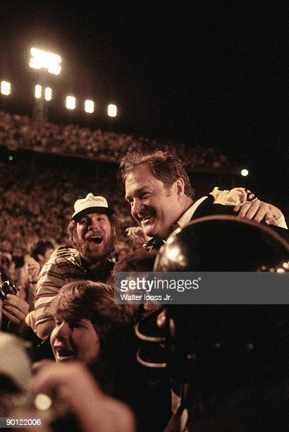 Super Bowl XIII Pittsburgh Steelers coach Chuck Noll victorious getting carried off field after winning game vs Dallas Cowboys Miami FL 1/29/1979...